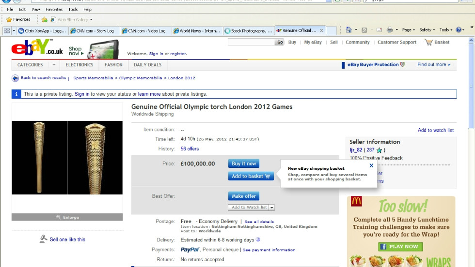 Dozens of torch bearers have put their prized mementos up for sale on eBay, with sellers seeking up to £100,000. In some cases the money has been offered to charity.