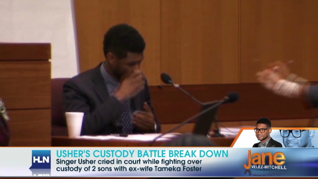 Usher breaks down in court