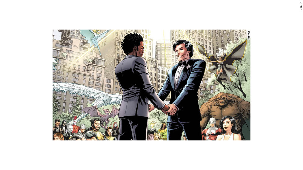 "Northstar popped the question in ""Astonishing X-Men"" #50, and he got married the following month."