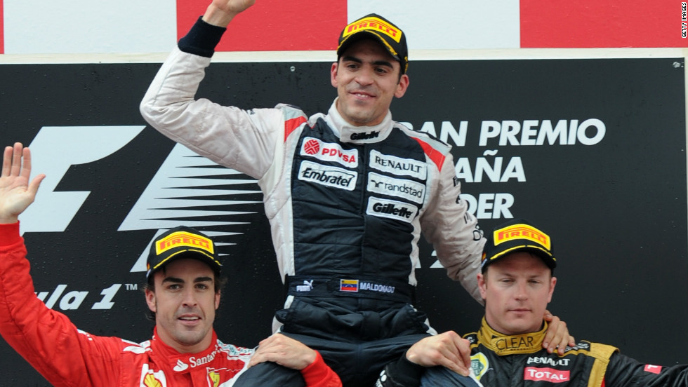 Williams celebrated a first grand prix victory since 2004 in Spain earlier this month, when Pastor Maldonado became the first driver from  Venezuela to win a Formula One race.