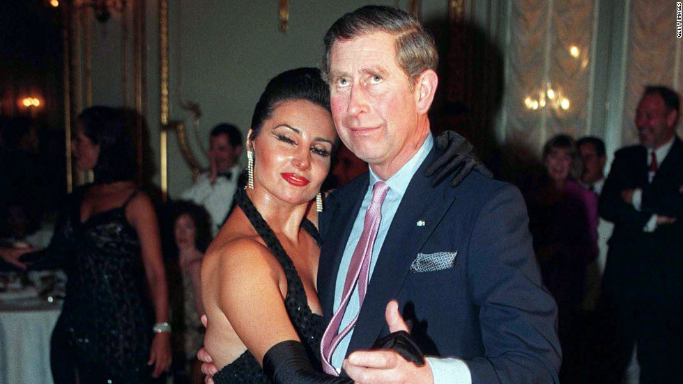 Prince Charles dances a tango with an expert at the Alvear Palace Hotel in Buenos Aires on March 9, 1999.