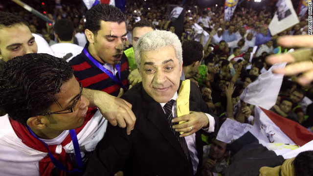 Egyptian presidential candidate Hamdeen Sabahy listens to supporters during a campaign rally in the city of Mansura on Friday.