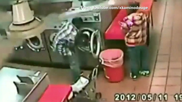 Watch child inside washing machine
