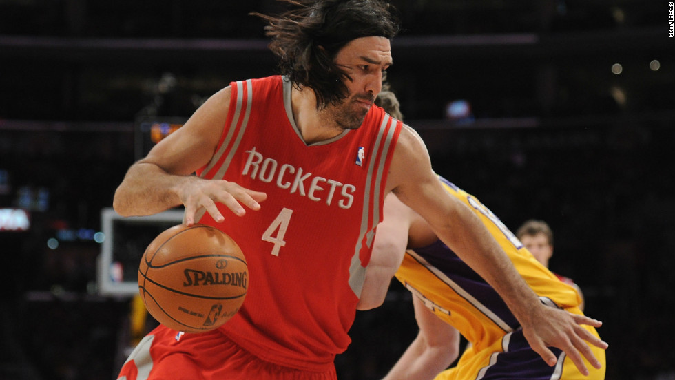 Scola also plays for Houston Rockets, pictured here in action against the LA Lakers in an NBA clash.