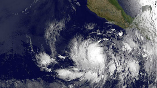A satellite image shows Tropical Storm Bud off southwestern Mexico on Thursday.