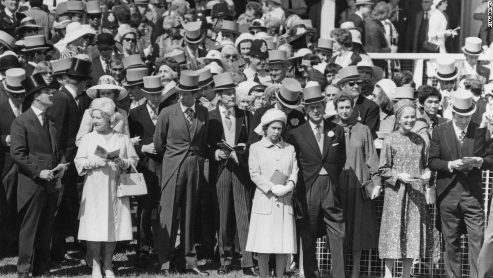 Queen Elizabeth II and the Duke of Edinburgh with members of the royal family including the late Queen Mother, at the Epsom Derby on June 2, 1977.