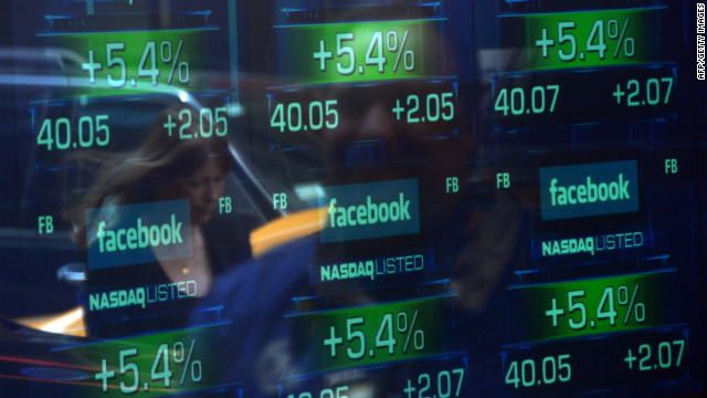 Facebook shares traded up initially when the company went public on May 18.