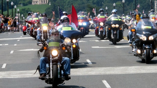 Rolling Thunder motorcyclists ride into Washington on Sunday, the day before Memorial Day.
