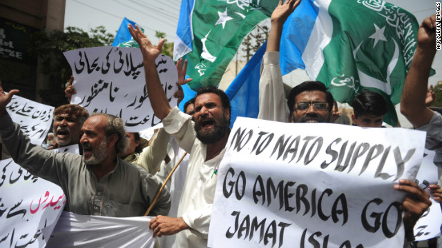 Pakistani protesters voicing their opposition to NATO in Karachi on Friday.
