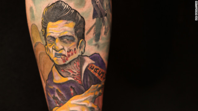 A tattoo by custom artist Kurt Fagerland. He says how a tattoo looks is more important than what it means.