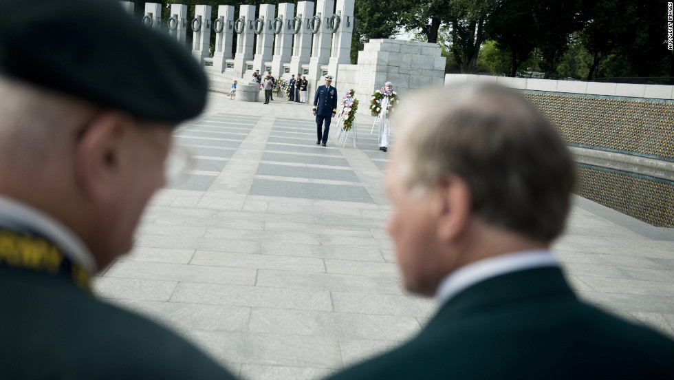 A wreath-laying ceremony is held at the World War II Memorial in Washington.
