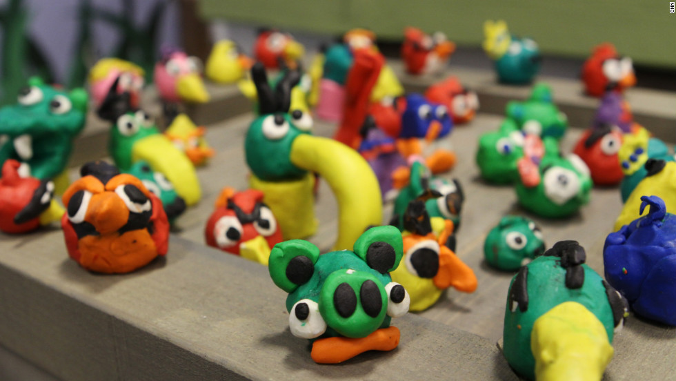Small clay figures -- look familiar? -- made by the children of employees at Rovio decorate the offices.