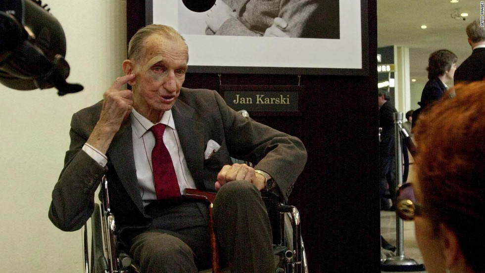 Jan Karski, the third and final posthumous recipient of the Medal of Freedom, served as an officer in the Polish Underground during World War II. Karski provided one of the first eyewitness accounts of the Holocaust to the world.