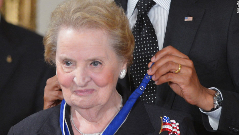 Madeleine Albright served as the first female U.S. secretary of state from 1997-2001 under President Bill Clinton. While in office, she worked to expand NATO and helped lead the alliance's campaign against terror and ethnic cleansing in the Balkans, pursued peace in the Middle East and Africa, sought to reduce the dangerous spread of nuclear weapons and was a champion of democracy, human rights and good governance across the globe.