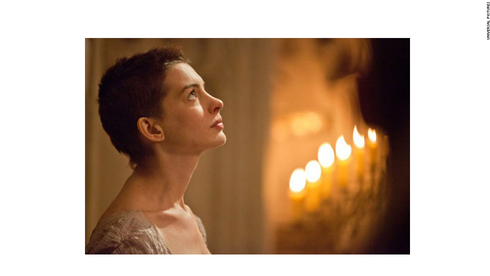 "Anne Hathaway didn't just have to shed weight to portray the tragic Fantine in ""Les Miserables."" <a href=""http://marquee.blogs.cnn.com/2012/12/03/anne-hathaway-on-getting-used-to-her-short-do/"" target=""_blank"">The actress said </a>it took her 30 minutes to muster the courage to look in a mirror after her haircut."