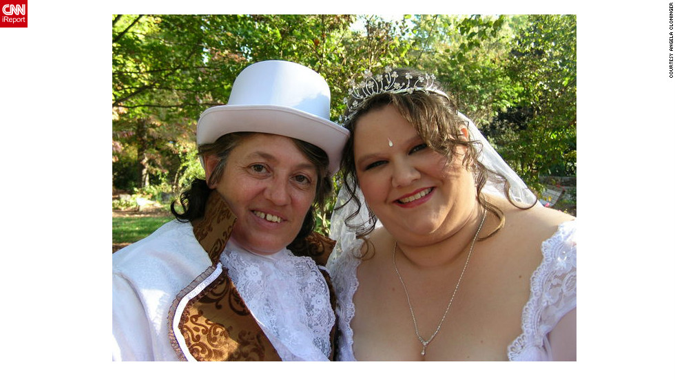 The son of iReporter Angela Cloninger (right) walked her down the aisle to meet her partner, Barbara, in a wedding ceremony almost three years ago in Asheboro, North Carolina. A few days later, they legally married on courthouse grounds in Washington, D.C. North Carolina voters recently amended the state constitution to make same-sex marriage illegal.