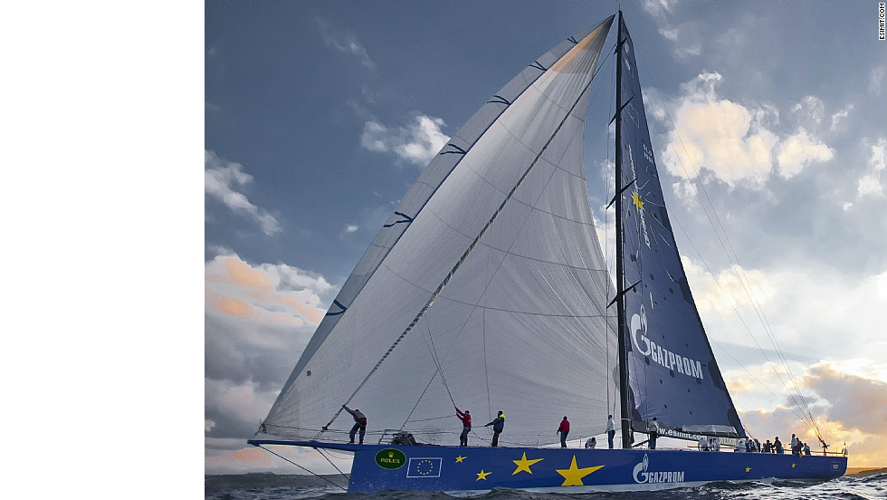 "The ""supermaxi"" yacht is 30 meters long, 5.3 meters wide and has a mast height of 44 meters."
