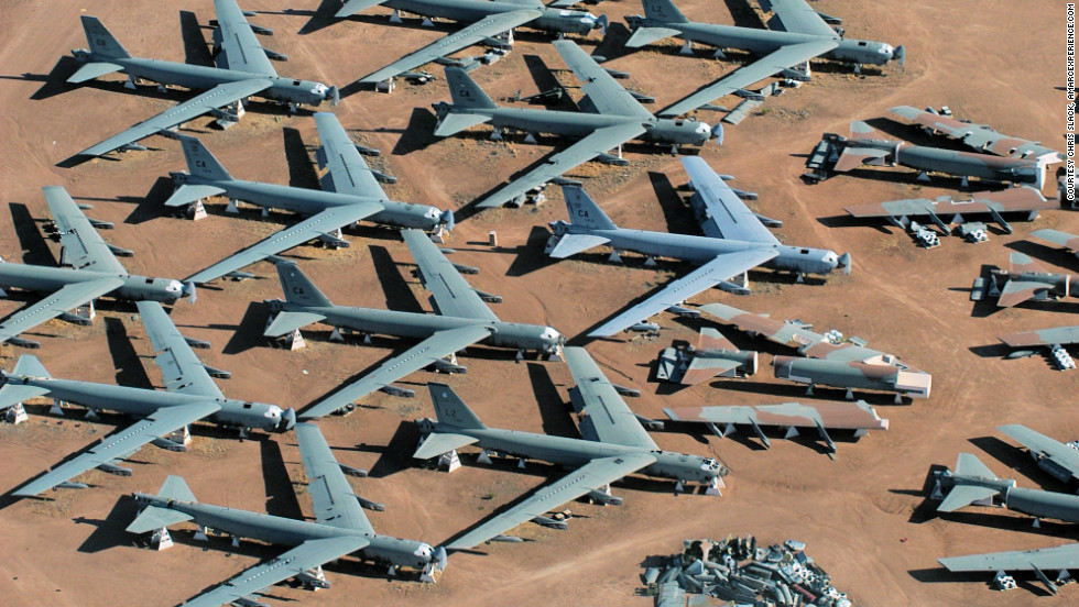 'Rows of retired B-52 bombers fill &amp;lt;a href=&amp;quot;http://www.amarcexperience.com/Default.asp&amp;quot; target=&amp;quot;_blank&amp;quot;&amp;gt;&amp;quot;The Boneyard&amp;quot; of the 309th Aerospace Maintenance and Regeneration Group&amp;lt;/a&amp;gt; based at  Davis-Monthan Air Force Base near Tucson, Arizona. Click through the photos to see additional places that attract aviation enthusiasts.<div style=