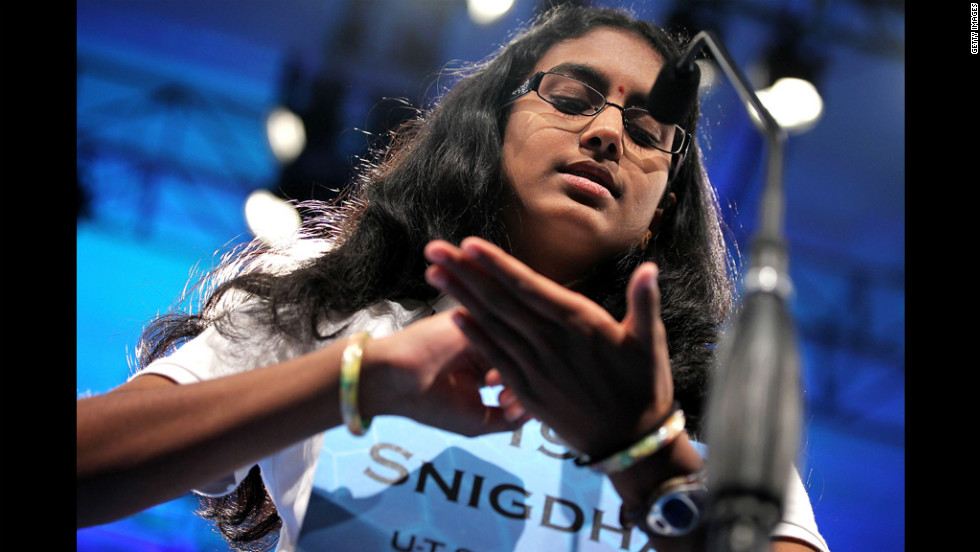 """Snigdha Nandipati, 14, won the Scripps National Spelling Bee Thursday night by properly spelling """"guetapens,"""" which means an ambush snare or trap."""