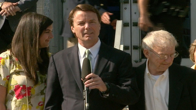 John Edwards makes a statement outside the courthouse.