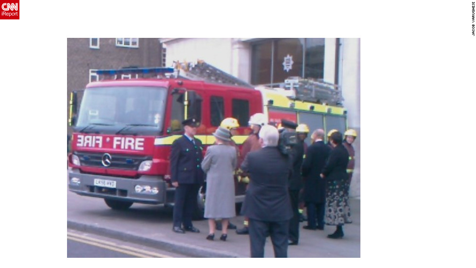 "The queen inaugurates the headquarters of the London Fire Brigade, February 22, 2008, photographed by iReporter Jacob Varughese. He said: ""Before I came down to the UK to do my studies and I had a dream that I would meet the queen once in my life, so when I did it was a dream come true."""