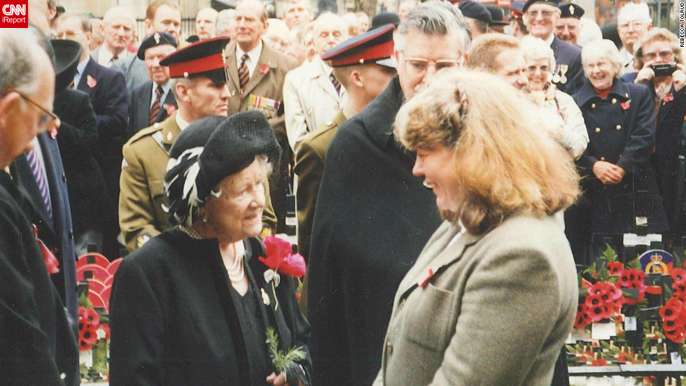 "Christine E. Denicola, an attorney from Lincoln, Nebraska, has an unexpected encounter with the Queen Mother at an event to honor military veterans on November 08, 1997. ""While the meeting was unplanned, I was thrilled to meet the Queen Mother because I knew about how brave she'd been during World War Two, how supportive she'd been of her husband during the time he was king  -- and this was prior to the movie, 'The King's Speech,' -- and how she'd not expected to be the queen consort. """