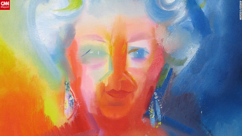 "A portrait of the queen by expressionist painter Stephen B. Whatley. Whatley, who has completed several works for the Royal Collections, says he made the queen laugh when he told her how he was locked in the Tower of London to paint the Crown Jewels. ""As she moved away, she looked over her shoulder and said: 'I'm pleased they let you out.'"" He adds: ""She came across with a great humility, open-heartedness and willingness to learn."""