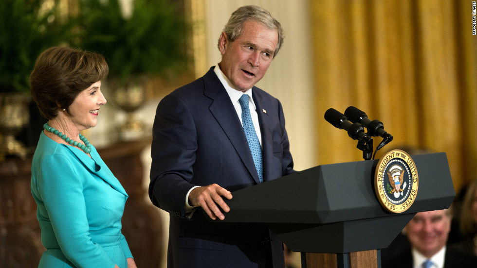 Bush thanked the Obamas for their hospitality in hosting the event that included lunch with the Bush family.