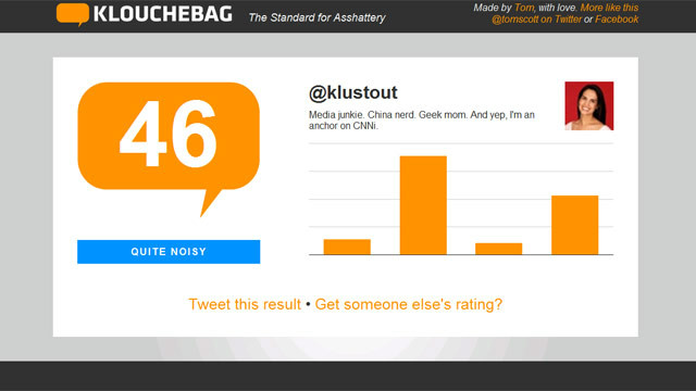 "Klouchebag gives Kristie Lu Stout a rating of 46 or ""quite noisy"" based on her Twitter feed."