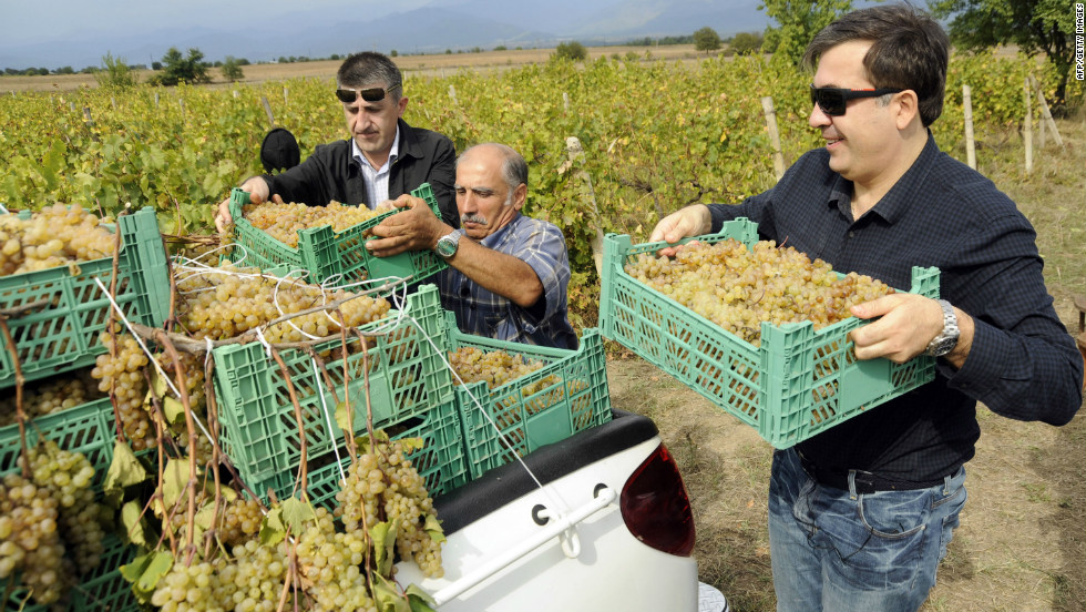 Wine is a part of Georgia's culture and national identity and supported by the country's president Mikheil Saakashvili (pictured right).