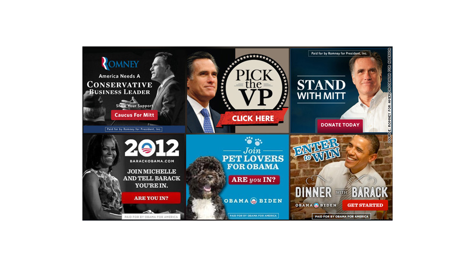 "Both campaigns have spent millions on Internet ads. Mitt Romney's tend to feature images of the candidate with messages like ""Ready to Lead,"" while President Obama's stand in stark contrast with images of the first lady, the first family or even their dog, Bo."