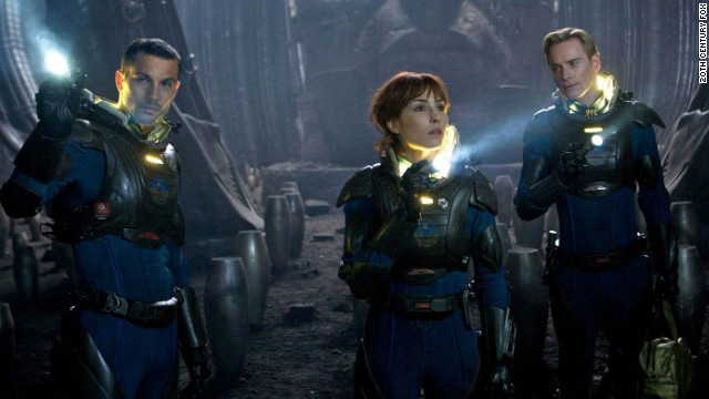 """Logan Marshall-Green (left), Noomi Rapace and Michael Fassbender star in """"Prometheus."""""""