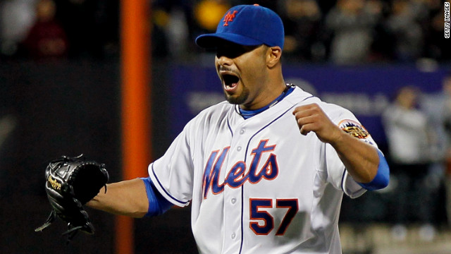 Johan Santana exults after striking out the last batter to secure his and the Mets' first no-hitter.