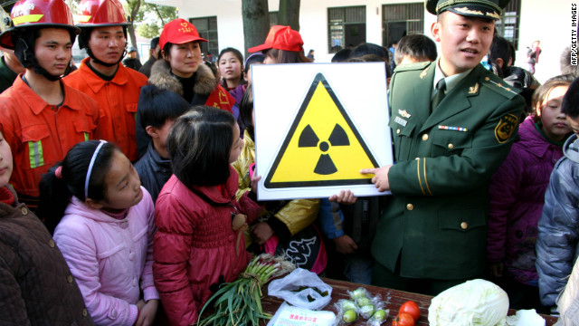 Chinese students learn about radiation awareness during a class at a school in Hanshan, east China's Anhui province on March 17, 2011.