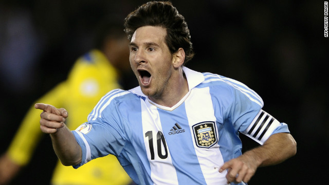 Lionel Messi celebrates after scoring Argentina's third goal against Ecuador at the Monumental stadium in Buenos Aires.