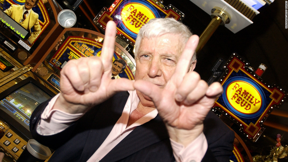 Richard Dawson in 2003 at the launch of the Family Feud Video Slots at the MGM Grand Hotel in Las Vegas.