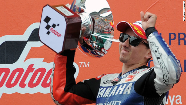 Yamaha rider Jorge Lorenzo celebrates after winning the Catalunya MotoGP in Montmelo, near Barcelona.
