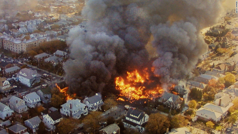 An American Airlines plane crashed in Belle Harbor, Queens, shortly after takeoff from John F. Kennedy Airport on November 12, 2001. The crash killed 265 people, including five people on the ground.