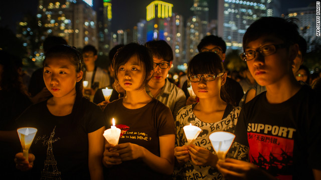 A candlelight vigil in Hong Kong marks the crackdown on the pro-democracy movement in Beijing's Tiananmen Square in 1989.