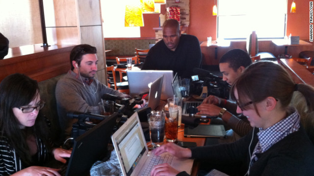 CNN's Shannon Travis, center, has spent much of the past 8 months on the road with the campaigns.