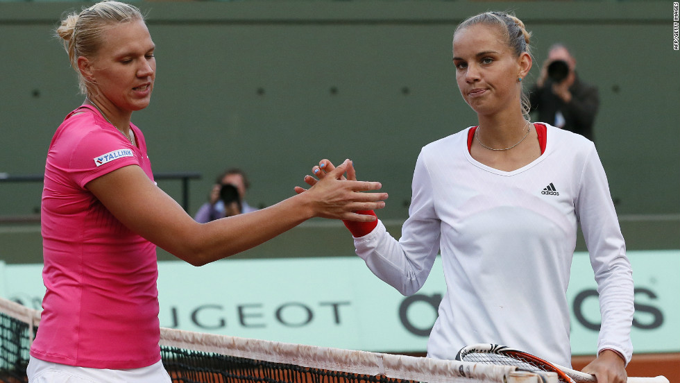 Sharapova will next play Estonia's Kaia Kanepi (left) -- who followed up her win over former world No. 1 Caroline Wozniacki by beating unseeded Dutch player Arantxa Rus.