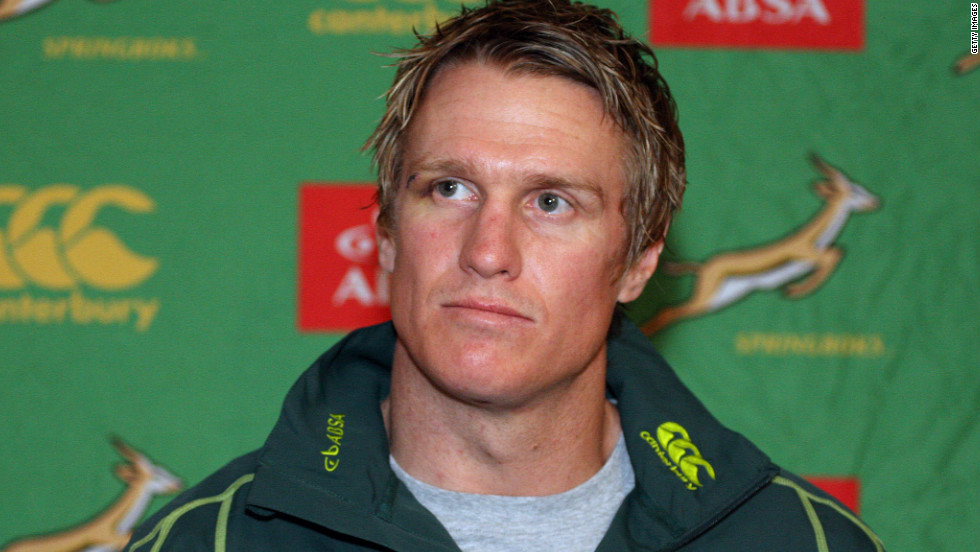 <strong>04/06/2012 - Springboks name new captain:</strong> Veteran center Jean de Villiers will lead South Africa's rugby team for the three-Test series against England starting on Saturday, in the absence of the injured Schalk Burger and Juan Smith.