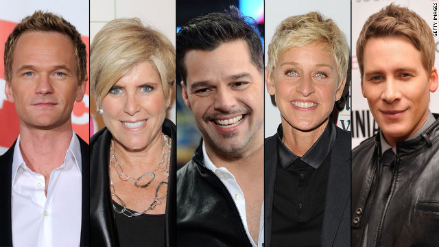 Some of Obama's prominent LGBT supporters include Neil Patrick Harris, Suze Orman, Ricky Martin, Ellen DeGeneres, and Dustin Lance Black.