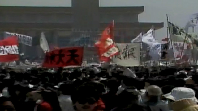 Student protests in Tiananmen Square ended when Chinese troops fired on crowds, killing hundreds and wounding thousands.