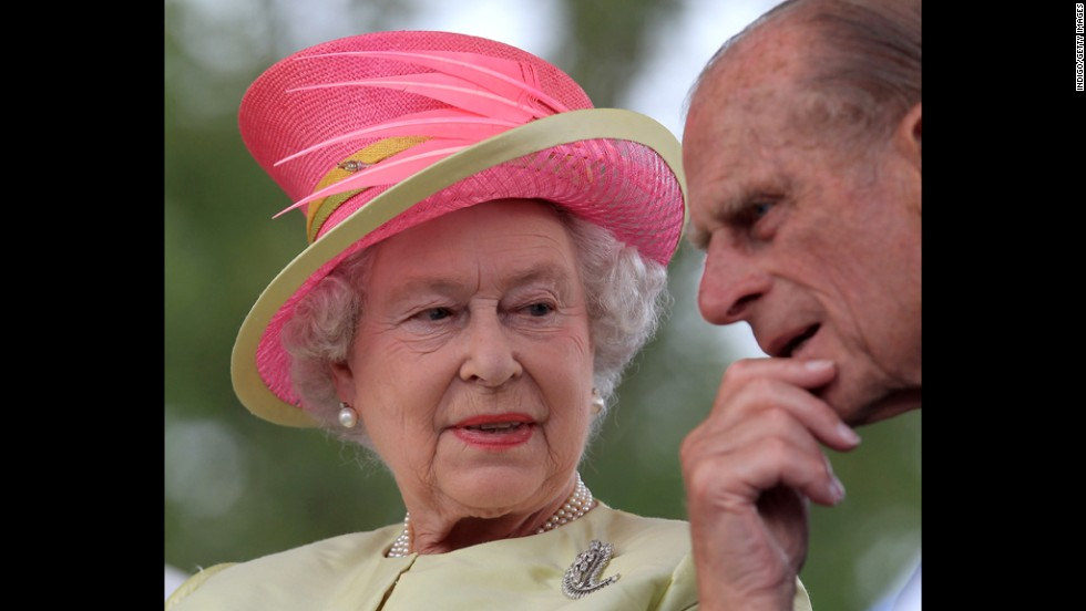 July 3, 2010: Queen Elizabeth II talks to Prince Philip, Duke of Edinburgh, during the Canadian concert for Human Rights in Winnipeg, Canada.