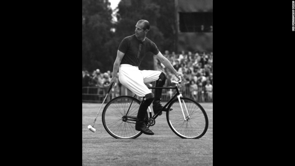 August 6, 1967: Prince Philip competes in a bicycle polo match at Windsor.