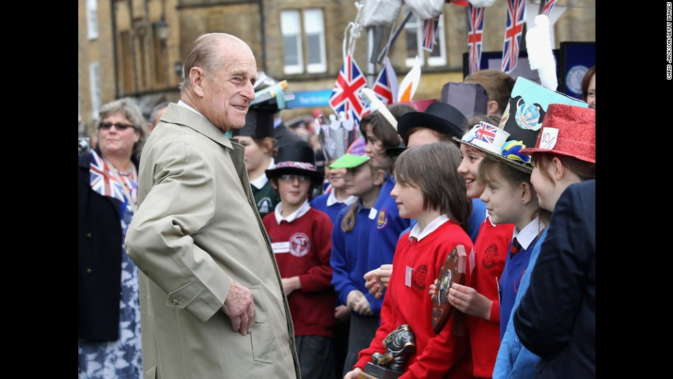 May 1, 2012: Prince Philip visits Sherborne Abbey as part of the Diamond Jubilee tour of the country.