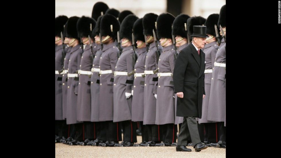 March 3, 2010: The Duke of Edinburgh inspects the Guard of Honourat the Horse Guards Parade.