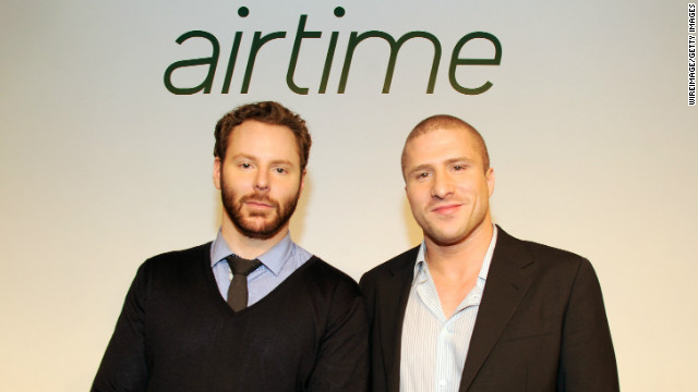 Sean Parker, left, and Shawn Fanning at the launch of their new Airtime social video network Tuesday in New York City.