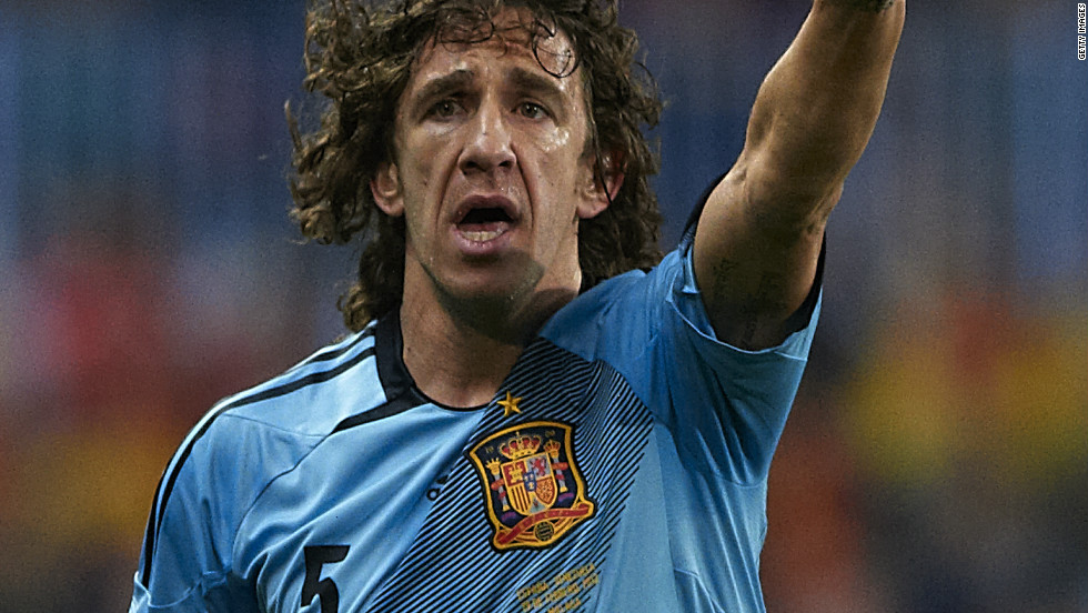 Defending champions Spain will be without injured defender Carles Puyol, pictured, and his Barcelona teammate David Villa -- La Roja's all-time leading scorer -- for the Euro 2012 finals.